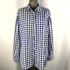 Gap Gingham Blue and White Check Top